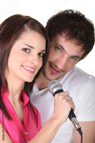 Couple singing together