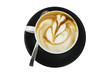 Professional barman design the cappuccino with tulip flower