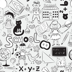 Seamless pattern with school theme
