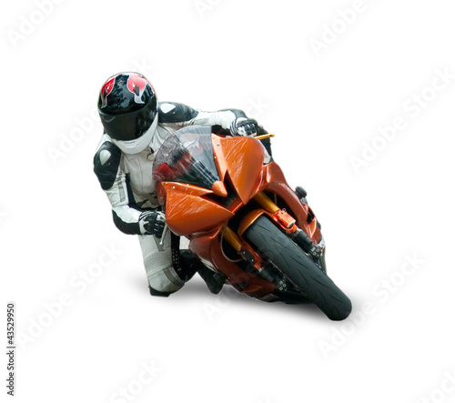 Foto op Plexiglas Motorsport Motorcycle racer isolated on white background