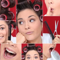 Collage of young woman with hair curlers