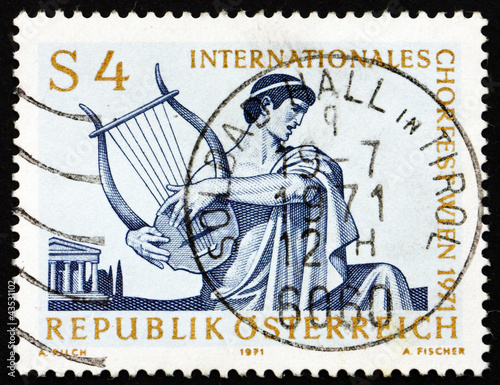 Postage stamp Austria 1971 Singer with Lyre