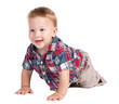 Smiling baby crawling on the floor