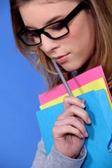 Geeky looking female student