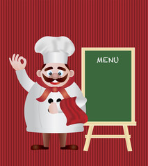 Chef with Menu Sign Illustration