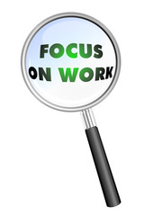 FOCUS ON WORK  MAGNIFYING GLASS cloud sphere ball words