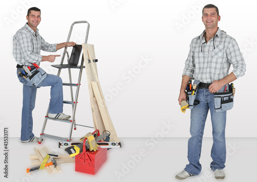 duo of twin carpenters at work