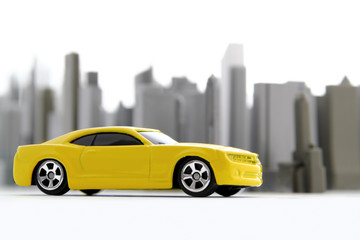 Yellow car in the city