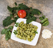 Fresh Pesto Pasta on Natural Stone Setting
