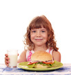 besmear little girl with big sandwich