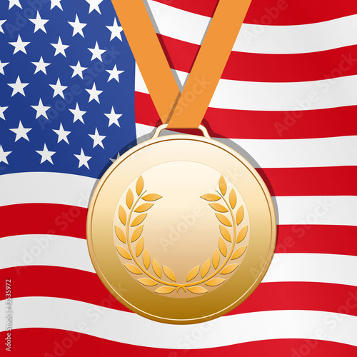 Bronze medal on United States flag background