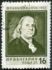 BULGARIA - 1956: shows portrait of Benjamin Franklin (1706-1790)