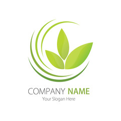 Company (Business) Logo Design, Vector, Green Leaf, Arc