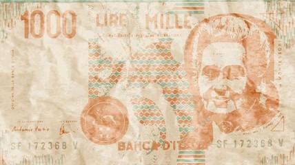 Vecchia moneta italiana mille lire