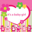 Greeting card with the birth of a baby girl
