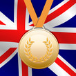 Bronze medal with Union Jack flag