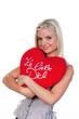 Frau mit Polster:Ich liebe Dich