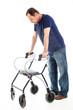 Despondent man on medical walker