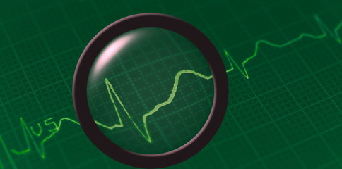 Electrocardiogram ecg with magnifier on green background