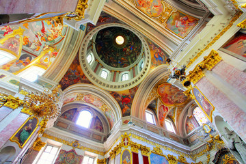 Interior of Cathedral Saint Nicholas in Ljubljana - Slovenia