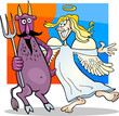 Angel and Devil in Friendship Cartoon