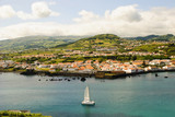 View to Horta, biggest city of Faial island, Azores poster