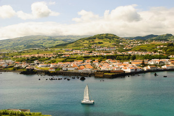View to Horta, biggest city of Faial island, Azores