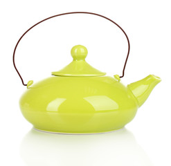 Green teapot isolated on white