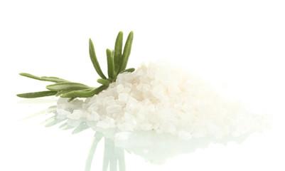 salt with fresh rosemary isolated on white
