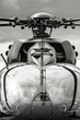 black and white military helicopter cockpit closeup