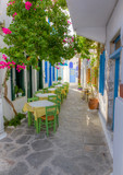 Colorful alley in Plaka village, Milos island, Cyclades, Greece - 43548315