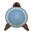 Blue ceramic photo plate with wood stand isolated white backgrou
