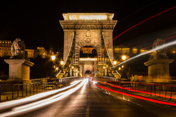 The famous Chain Bridge at night (Budapest, Hungary)