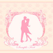 Floral greeting card with silhouette of romantic couple