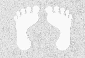 Footprint on embossed textured background
