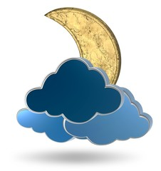 Gold crescent moon and clouds on a white background