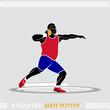 Greek art stylized shot putter in action