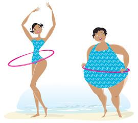 Slim and big girls exercising