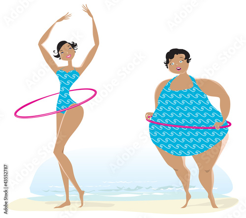 Slim and big girls exercising