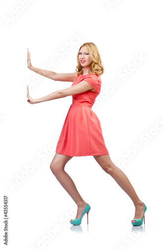 Woman in fashion clothing on white