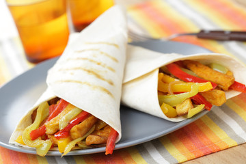 Burritos with tofu and vegetables