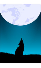 Vector Wolf Howling with the Moon Illustration