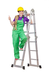 Woman worker standing on ladder