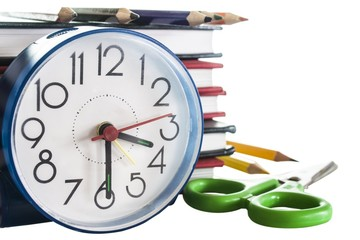 school composition,clock,pencils,books isolated on white