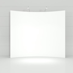 Design of Stand for Business Presentation in a white Empty Inter