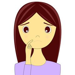 悩む表情の女性のイラスト