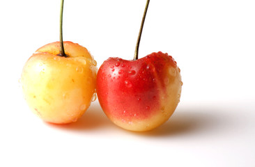 Two Rainier cherries