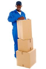 Cheerful delivery guy preparing receiving notice