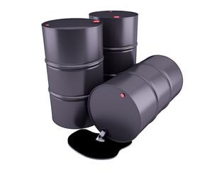 Barrels of oil on white background. 3D render clipart