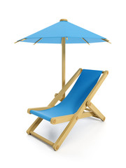 3d illustration: umbrella and folding chair, objects rest on the